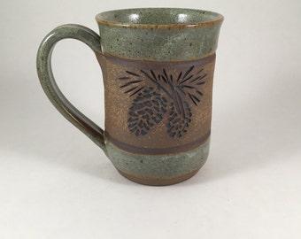 Pottery Pinecone Mug, Pottery Mug, Handmade Stoneware Cup, Clay Cup, Gift Idea, Favorite Mug, Ceramic Coffee Cup, Wheel Thrown Mug
