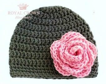 Newborn Girl Hat,Baby Girl Hat,Baby Girl Beanie,Baby Newborn Hat,Crochet Newborn Hat,Crochet Baby Hat,Knit Hat,New Baby Girl Gift,Gray,Pink