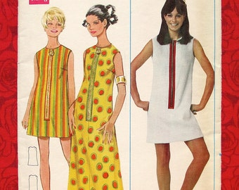 Butterick Sewing Pattern 4800 Maxi Mini A-Line Dress, Vintage 1960's, Misses' Size 10, Sleeveless, Mid-Century Modern, Mod Casual Sportswear