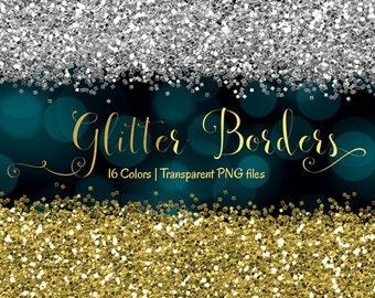 "Glitter clipart: ""Glitter Borders"" digital borders, digital glitter overlay, glitter clip art, border clipart, Gold borders, Commercial use"