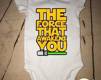 The force that awakens you, baby Star Wars onesies, Star Wars onesie, new baby onesie, birth announcement, boy onesie, girl onesie