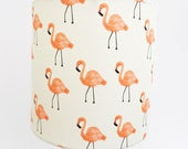 Handmade FLAMINGO DRUM LAMPSHADE Lamp Shade Modern Pink Beach House Florida Style Light Shade with Cotton + Steel Fabric 7 inches Washer top