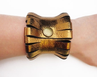 clothing gift - New Years Eve - gold leather bracelet - leather bracelet - gold bracelet - extravagant leather bracelet