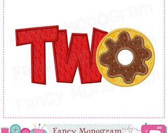 TWO applique,Donut applique,TWO design,Donut design,TWO embroidery,Donut,Birthday applique,Babies applique.-1732