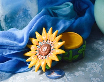 Hand Sculpted Sunflower Treasure Box