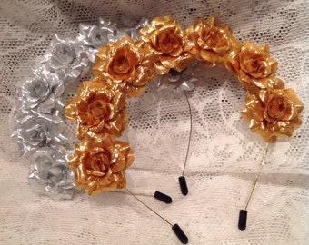 Gold Rose Flower Headband, Silver Rose Hairband, festival headband, Christmas hair accessories, Gold hair accessory, silver rose,