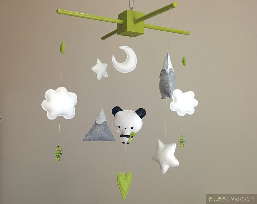 Panda baby mobile modern nursery decor unique baby nursery for Unusual baby mobiles