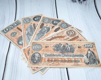 Vintage FAKE Confederate Paper Dollars Bills 1 5 10 20 50 100 Play Novelty Money