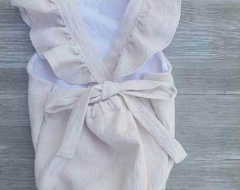 Baby girl romper, alt pink linen romper, with or without ruffles