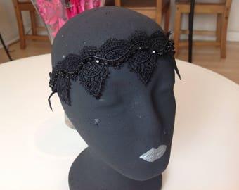 REGINA Black lace Wedding bridal sparkly forehead band wedding beaded diamanté headband.