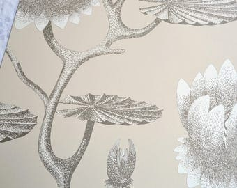 Wallpaper - Cole and Son  Sample Sheet  - 19 x 17 Summer Lily in Tan