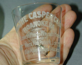Casper Whiskey Roanoke VA Pre-Pro Etched Shot Glass