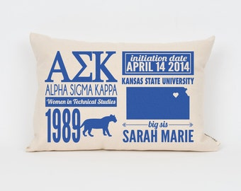 alpha sigma kappa custom sorority facts pillow greek letter pillow big little gift sorority letters sorority gift dorm decor