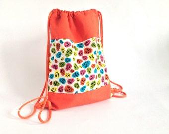 Backpack CHILDREN + 6 YEARS skull Orange