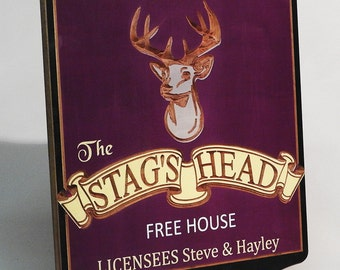 Personalised Pub sign , carved and hand painted,  Bar sign, tavern plaque, custom made, English Pub sign