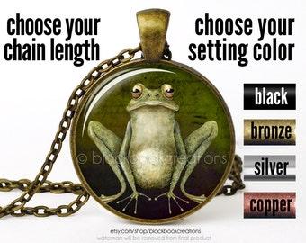 Frog Necklace, Sitting Frog Pendant, Animal Jewelry, Frog