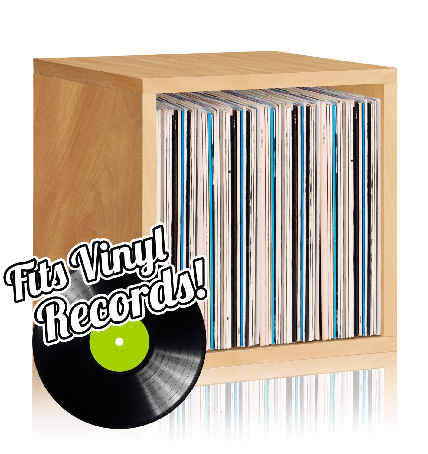 vinyl record storage cube stackable lp record album storage. Black Bedroom Furniture Sets. Home Design Ideas