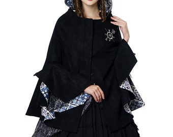 Steampunk Hooded Cape Hooded Cloak Black Cape Poncho Rudder Brooch Set