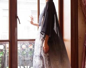 Gradient Black Grey Oversize Kimono Gown Long Maxi Vintage Robe