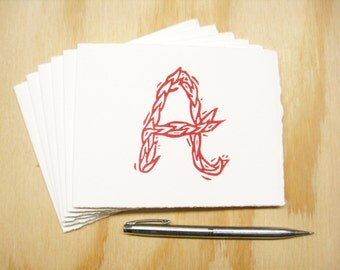 Letter A Stationery - Set of 6 Block Printed Cards - Choose Your Color - Personalized Gift - MADE TO ORDER