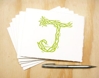 Letter J Stationery - Set of 6 Block Printed Cards - Choose Your Color - Personalized Gift - MADE TO ORDER