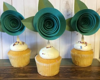 Paper Rose Cupcake Toppers, Teal, Set of 12