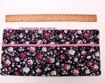 Sale! X Large Floral Pencil case 32cm x 15cm With Two Pockets and Two pink Zippers