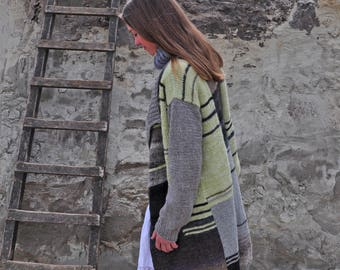 chuncky handknitted cardigan, free shipping