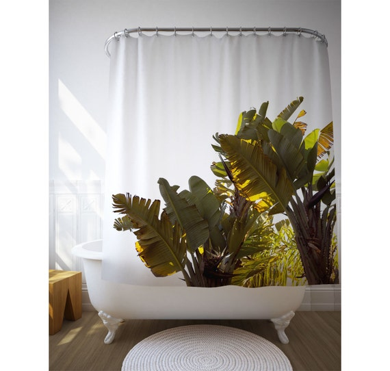 Banana Tree Shower Curtain, Tropical Bathroom, Home Decoration, Bathroom Decor, Tree Photo, Bath Accessory