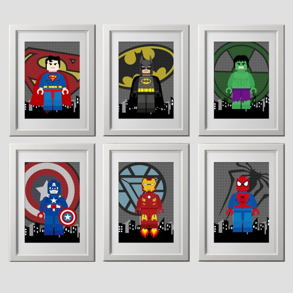 Superhero wall art prints super hero superhero bedroom wall for Deko kinderzimmer wand