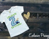 EXCLUSIVE PRICING | Train | Embroidered | Birthday Party Shirt | Personalized with Name and Age | Applique | Custom