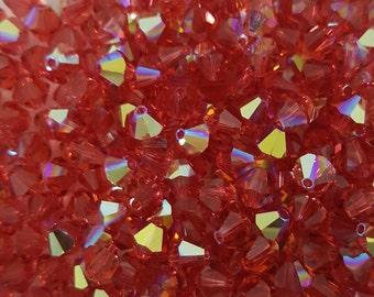 Swarovski 6mm Bicone Crystal Beads - Padaradscha AB x 10