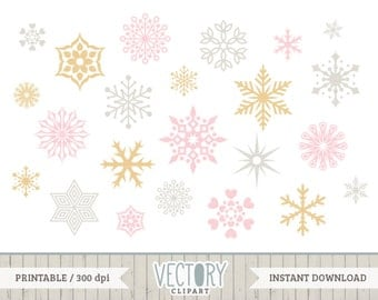42 Snowflake Clipart, Christmas Clipart, Snowflake Clipart, Golden Snowflakes, Silver Snowflakes, Pink Snowflakes, Snow Clipart by Vectory