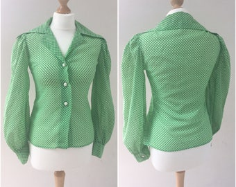 Polly peck by Sybil Zelker laidies shirt, size 8 1970s blouse with dagger collar, green polka dot blouse, secretary blouse bishop sleeves