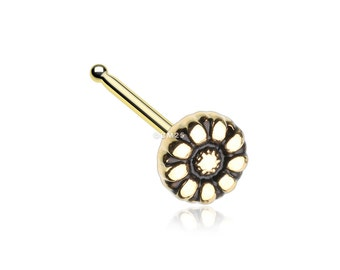 Golden Antique Daisy Nose Stud Ring