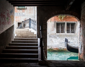 Venice print, Italy Photo decor, fine art, canal, venice gondola, venice bridge, interior decorating, italian cities landscape, home decor