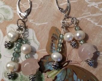 Pearl, Rose Quartz and Aquamarine Earrings