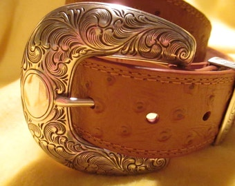Vintage full grain Ostrich embossed leather belt by Ariat size 28-31