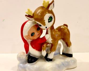 Vintage Lefton Bisque, Santakins Christmas Deer, Green Eyed Reindeer, Pixie Elf, Candle Holder, Big Eye Fawn, Porcelain figurine, Japan,