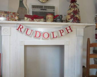 Rudolph Banner Rudolph Christmas Banner Holiday Banner Rudolph