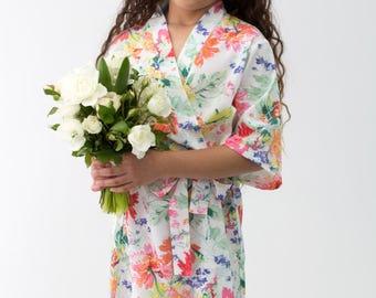 Flower Girl Robe // Bridal Robe // Bride Robe // Bridal Party Robes // Bridesmaid Gift // Robe // Floral Robes