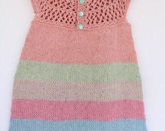 Little girl cotton dress, toddler summer jumper, spring knitwear, Easter dress, pink, green, blue striped dress
