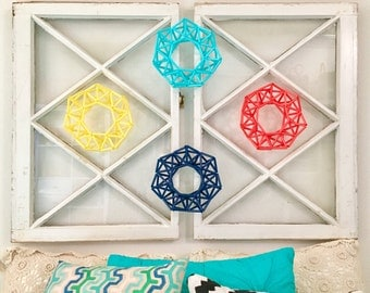 Mini {turquoise} Wreath, Modern Wreath | Geometric, Himmeli Wreath, Door Wreath, Table Wreath, Candle Wreath, Home Decor