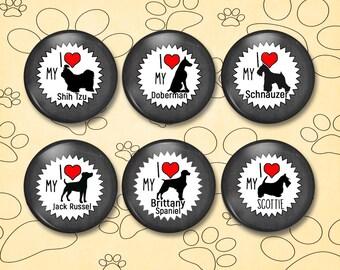 Dog Breed Shadow Magnets - Shih Tzu, Jack Russel, Doberman, Brittany Spaniel, Schnauzer, Scottie - AN1105
