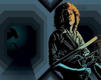 Alien Ellen Ripley A3 Illustrated Film Art Print Unframed
