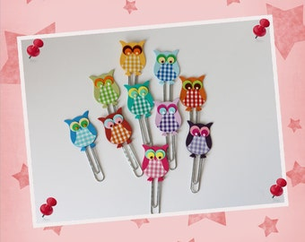"10 x-paperclips - bookmark ""OWL"""