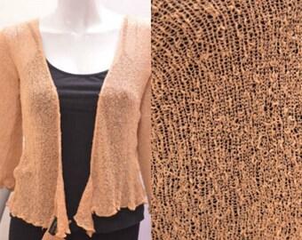 Boho chic crochet style knit shrug cardigan Beige onesize 10 12 14 16 18 20