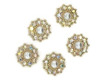 Pearl and Crystal AB Floral Components (5 Pieces)