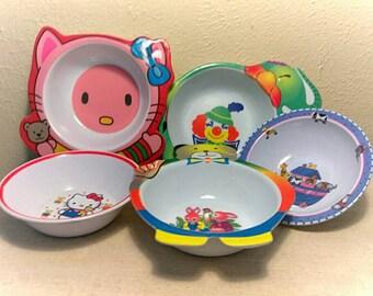 Vintage Toddler  Animal Melamine Bowls