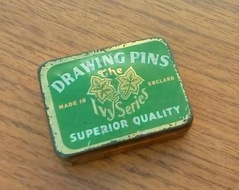 Vintage 1930s Ivy Series Drawing Pins Tin